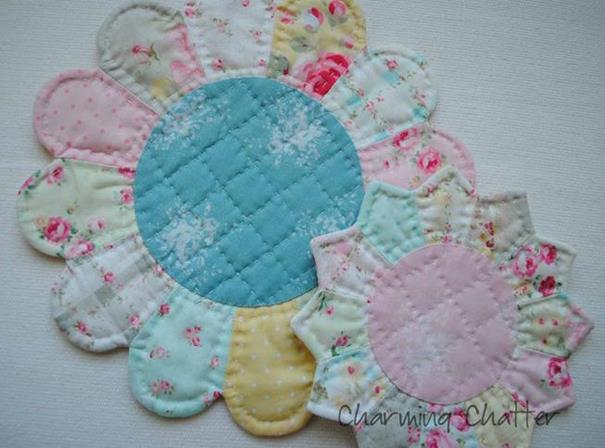 Fabric Plate Warmer ~ Pretty little trivets hot pads free pattern pink